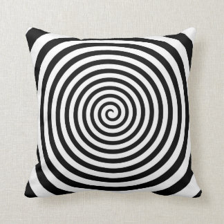 Hypnotic Black and White Spiral - Hypno-Pillow Cushion