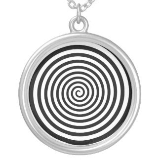 Hypnotic Black and White Spiral Silver Plated Necklace