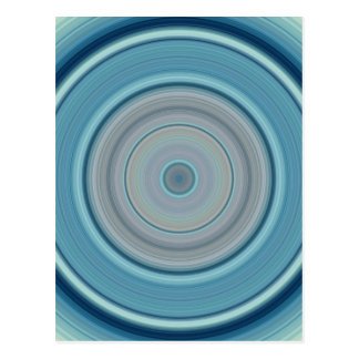 Hypnotic Circle Aqua White Postcard