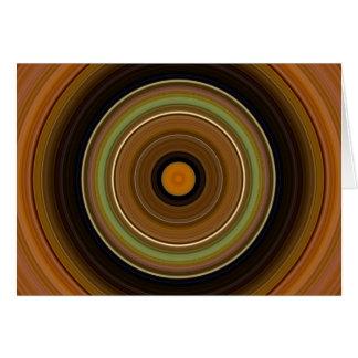 Hypnotic Circle Brown Green Orange Card