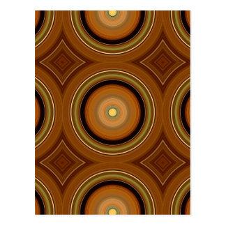 Hypnotic Circle Brown Postcard