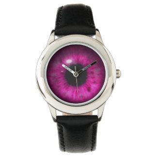 Hypnotic Deep Purple Eye Retina Wristwatches