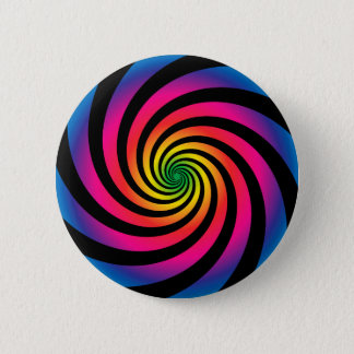 HYPNOTIC DISC Mesmerizing Neon Color Vortex Spiral 6 Cm Round Badge