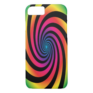 HYPNOTIC DISC Mesmerizing Neon Color Vortex Spiral iPhone 8/7 Case