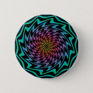 HYPNOTIC DISC Mesmerizing Neon Cool Zig Zag Spiral 6 Cm Round Badge