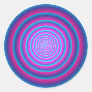 Hypnotic Fuzzy Purple Crazy Circular Vortex Disc B Classic Round Sticker