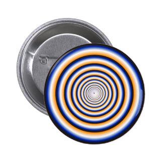 Hypnotic Fuzzy White Crazy Circular Vortex Disc 6 Cm Round Badge
