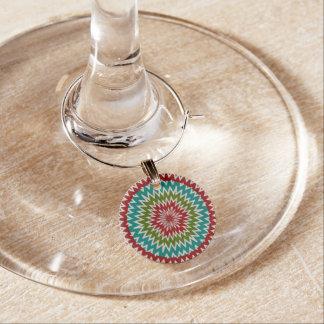 Hypnotic mandalaic flower wine charm