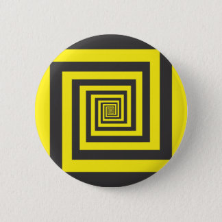 Hypnotic spiral in yellow and black 6 cm round badge