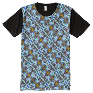 Hypnotic Swirls and Stars All-Over Print T-Shirt