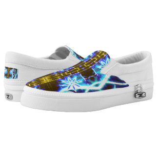 Hypnotic Swirls and Stars Slip-On Shoes