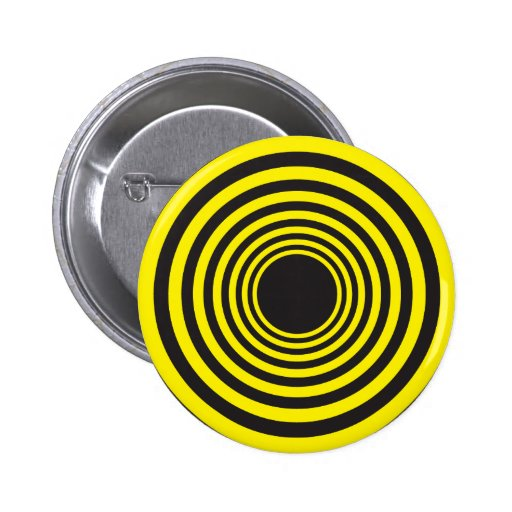 Hypnotic yellow on black concentric circles button