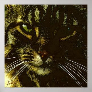 Hypnotising Cat Digital Art Hypnosis Poster