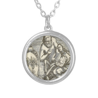 Hypnotism Drawing with Mirror Silver Plated Necklace