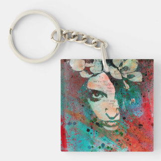 HYPOTHERMIA - graffiti flower girl portrait Key Ring
