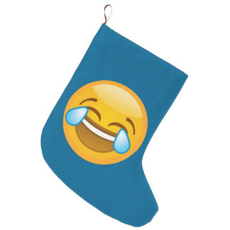 Hysterically Laughing Emoj Large Christmas Stocking