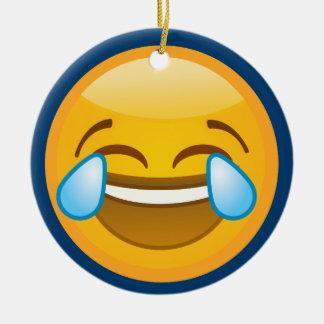 Hysterically Laughing Emoj Round Ceramic Decoration