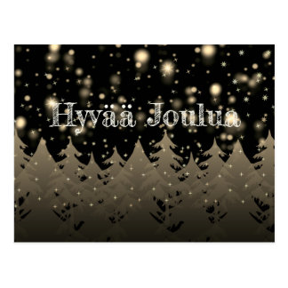Hyvää Joulua Gold Starry Night Snowfall Trees Postcard