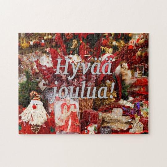 Hyvää joulua! Merry Christmas in Finnish wf Jigsaw Puzzle