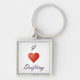 I <3 Drifting [Key chain] Silver-Colored Square Key Ring