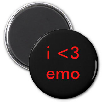 i <3 emo 6 cm round magnet