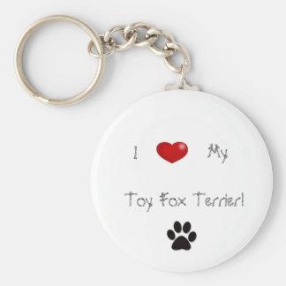 I <3 my Toy Fox Terrier Keychain. Basic Round Button Key Ring