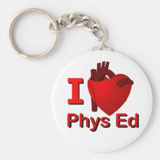 I <3 Phys Ed Basic Round Button Key Ring