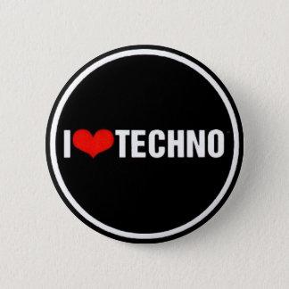 I <3 Techno 6 Cm Round Badge