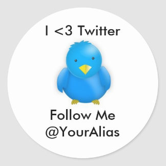 I <3 Twitter_Stickers Classic Round Sticker