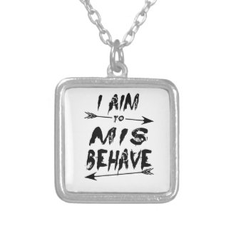 I aim to mis behave silver plated necklace