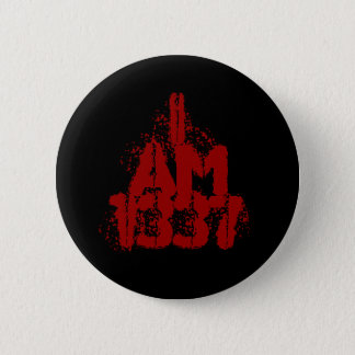 I Am 1337. Deep Red Text. Leet Gamer. 6 Cm Round Badge