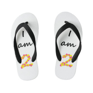 I am 2 - Kids Flip Flops Thongs