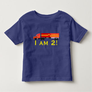 """ I am 2!""  & Name with red semi truck. Toddler T-Shirt"