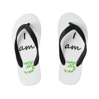 I am 3 - Kids Flip Flops Thongs