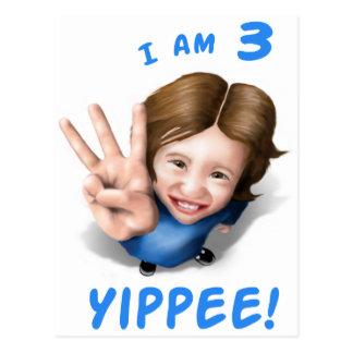 'I Am 3 - Yippee!' - Age 3 Birthday Girl Postcard