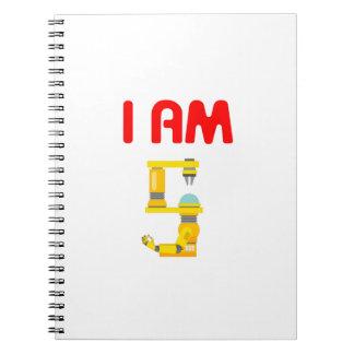 I am 5 Robots Evolution 5th Birthday 2012 Spiral Notebook