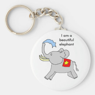 I am a beautiful elephant basic round button key ring
