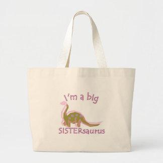 I am a big sistersaurus large tote bag