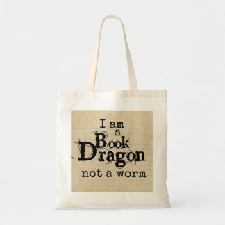 """I am a Book Dragon not a worm"" on Notebook Paper Tote Bag"