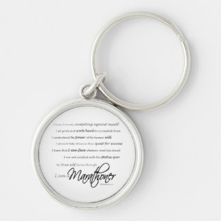 I Am a Marathoner Silver-Colored Round Key Ring