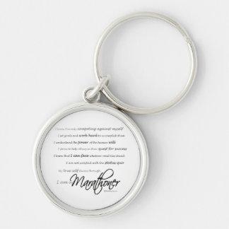 I Am a Marathoner Silver-Colored Round Key Ring