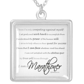 I Am a Marathoner Silver Plated Necklace