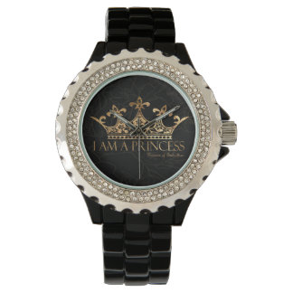 I Am A Princess w/Crown Rhinestone Black Enamel Watch