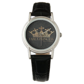 I Am A Princess w/Crown  Women's Classic Leather Watch