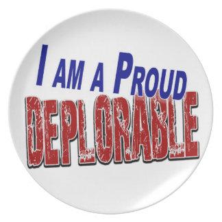 I Am A Proud DEPLORABLE Plate