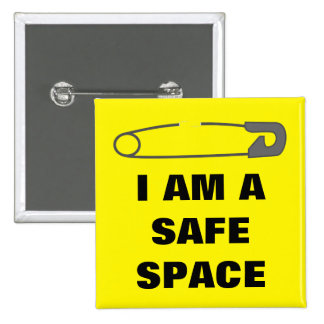 I AM A SAFE SPACE 15 CM SQUARE BADGE