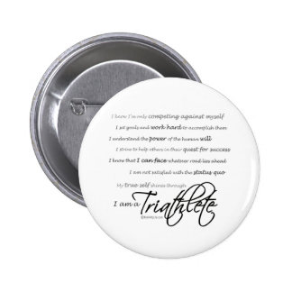 I am a Triathlete - Script 6 Cm Round Badge