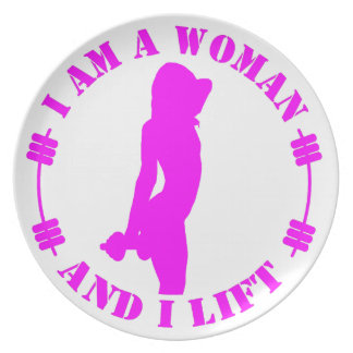 I am a woman and I lift official design pink Party Plate