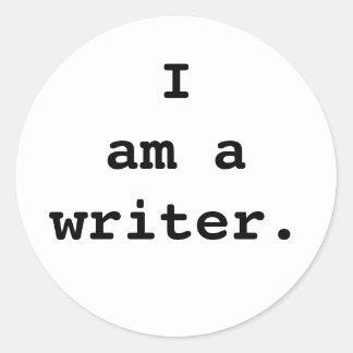 I am a writer sticker. round sticker