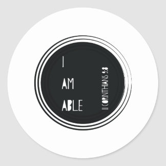 """I am able"" Corinthians Christian Bible Verse Classic Round Sticker"